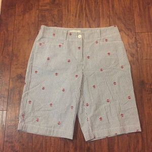 Talbots  Ladies Seesucker Blue and White Shorts